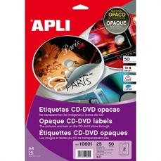 Foto de ETIQUETAS PARA CD/DVD OPACAS Ø117mm 50UD. 10601